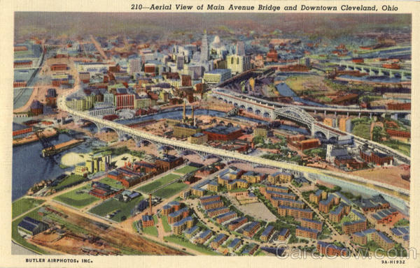Aerial View of Main Avenue Bridge and Downtown Cleveland Ohio