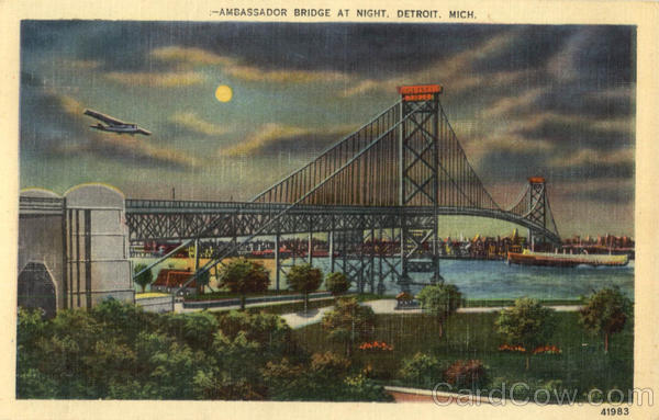 Ambassador Bridge At Night Detroit Michigan