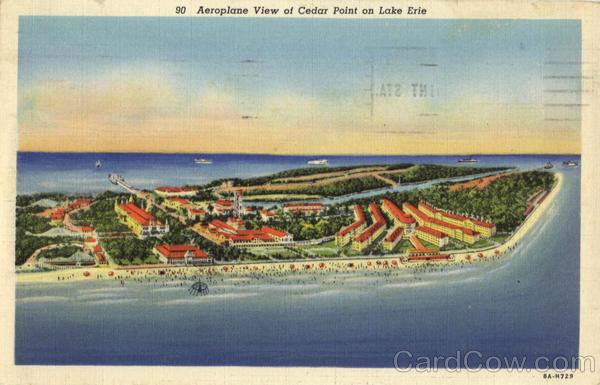 Aeroplane view of Cedar Point on Lake Erie Ohio