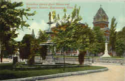 Hamilton County Court House and Fountain Square Postcard