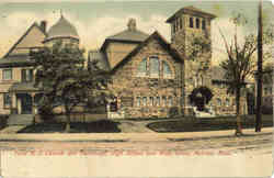 First M.E.Church and Parsonage, High School and Main Street Postcard