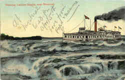 Running Lachine Rapids - Steamboat Postcard