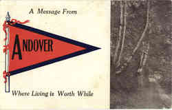 Andover Maine Banner Card Postcard