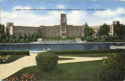 West High School With Sunken Garden In Foreground Postcard