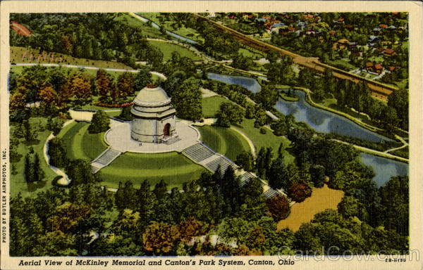 Aerial View Of McKinley Memorial And Canton's Park System Ohio
