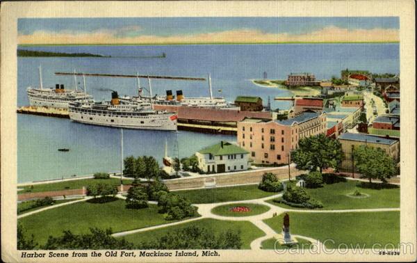Harbor Scene From The Old Fort Mackinac Island Michigan