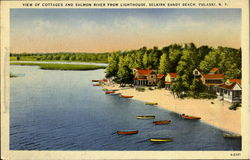 View Of Cottages And Salmon River From Lighthouse Postcard