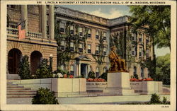 Lincoln Monument At Entrance To Bascom Hall Postcard