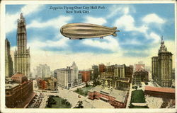 Zeppelin Flying Over City Hall Park