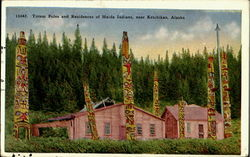 Totem Poles And Residence Of Haida Indians