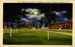 Night Time Scene Of Riverside Military Academy Postcard