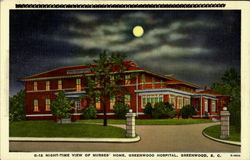 Night Time View Of Nurses Home, Greenwood Hospital
