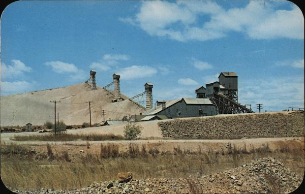 Missouri Lead and Zinc Mines aerial view ~ 1940s linen