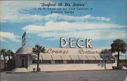 """Seafood At Its Source"" Deck Lounge Restaurant On the St. Simons and Sea Island Causeway Postcard"