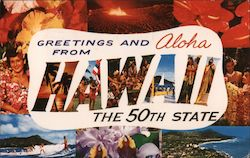 Greetings and Aloha from Hawaii- The 50th State Postcard