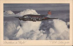 TWA Stratoliner in Flight Above the Clouds Postcard