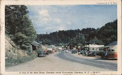 A View of the Main Street, Cherokee Indian Reservation Postcard