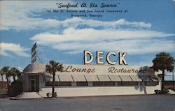 """Seafood At Its Source"" On the St. Simons and Sea Island Causeway at Brunswick, Georgia Postcard"