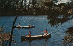 4 women in 2 canoes paddling on a lake