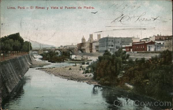 Rimac River and View of The Bridge of Stone Lima Peru