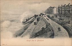 Rough sea at Blackpool Postcard