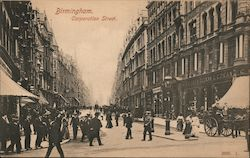 Pedestrians Stroll Along Corporation Street Postcard