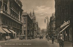 City street in Scotland with skyscrapers, pedestrians and automobiles Postcard