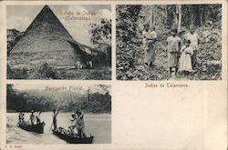 Large thatched building, women and children in traditional garb and men punting down a river