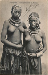 Nude, Two girls wearing beaded necklaces and skirts