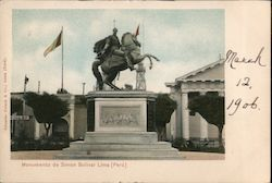 Monument to Simon Bolivar in front of a government building Postcard