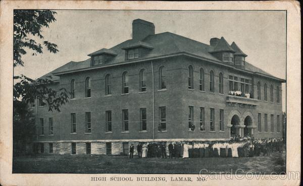 High School Building Lamar, MO Postcard