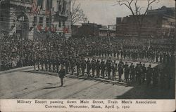 Military Escort Passing Down Main Street, Train Men's Association Convention, April 3, 1910