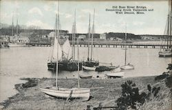 Old Bass River Bridge Connecting South Yarmouth and West Dennis Postcard