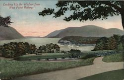 Looking Up the Hudson From West Point Battery Postcard