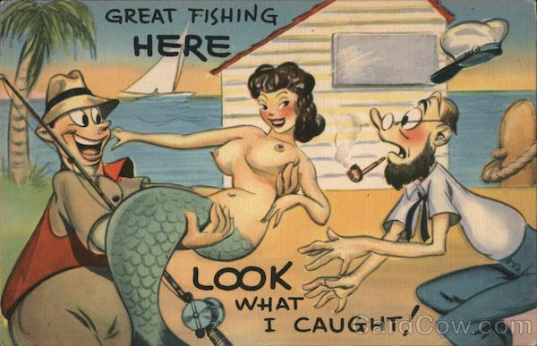 Great Fishing Here - Look What I Caught! Mermaid Comic, Funny