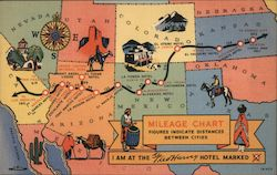 Map-Mileage Chart, Fred Harvey Hotels Postcard