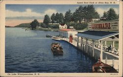 Speed Boat Dock on Lake Winnipesaukee Postcard