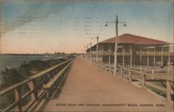 Board Walk and Pavilion, Hammonassett Beach Postcard
