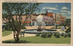 Third Street Park and Fountain Postcard