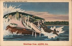 The Fish Keep You Busy Here - Jaws - Greetings from Aline, Ga. Postcard