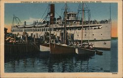 Steamboat, Martha's Vineyard and Fishing Smacks at Pier Postcard