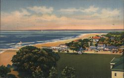 Bird's Eye View of St. Simons Village, Showing the Ocean Postcard