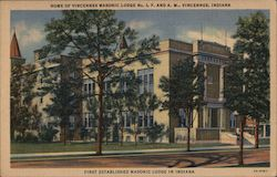 Home of Vincennes Masonic Lodge Postcard