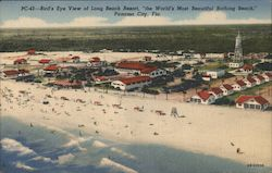 "Bird's Eye View of Long Beach Resort ""the World's Most Beautiful Bathing Beach"" Postcard"