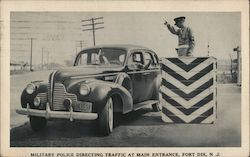 Military Police Directing Traffic at Main Entrance, Fort Dix