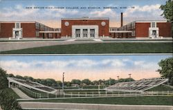 New Senior High-Junior College and Stadium Postcard