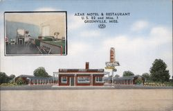 Azar Motel & Restaurant U.S. 82 and Miss. 1 Postcard