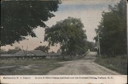 Boston & Maine Station and Road over the Overhead Bridge Postcard