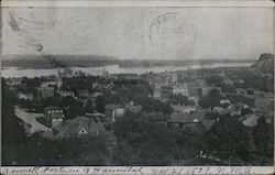 View of Hannibal and Mississippi River from Bluffs Postcard