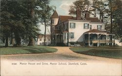Manor House and Drive, Manor School Postcard
